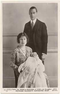 'T.R.H. The Duke and Duchess of York and daughter Princess Elizabeth Alexandra Mary', by Central News Ltd, published by  J. Beagles & Co - NPG x193258