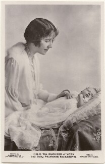'H.R.H. The Duchess of York and Baby Princess Elizabeth' (Queen Elizabeth, the Queen Mother; Queen Elizabeth II), by Speaight Ltd, published by  J. Beagles & Co - NPG x193260