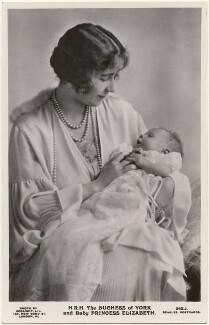 'H.R.H. The Duchess of York and Baby Princess Elizabeth' (Queen Elizabeth, the Queen Mother; Queen Elizabeth II), by Speaight Ltd, published by  J. Beagles & Co - NPG x193261
