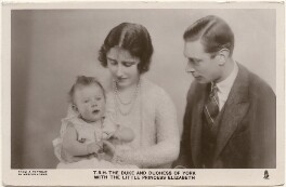 'T.R.H. The Duke and Duchess of York with the little Princess Elizabeth' (Queen Elizabeth II; Queen Elizabeth, the Queen Mother; King George VI), by Marcus Adams, published by  Raphael Tuck & Sons - NPG x193262
