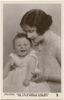 'H.R.H. The Duchess of York with the little Princess Elizabeth' (Queen Elizabeth II; Queen Elizabeth, the Queen Mother), by Marcus Adams, published by  Raphael Tuck & Sons - NPG x193263