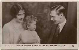 'T.R.H. The Duke and Duchess of York with Princess Elizabeth' (Queen Elizabeth, the Queen Mother; Queen Elizabeth II; King George VI), by Marcus Adams, published by  Raphael Tuck & Sons - NPG x193264