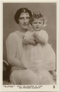 'H.R.H. The Duchess of York and Princess Elizabeth' (Queen Elizabeth, the Queen Mother; Queen Elizabeth II), by Marcus Adams, published by  Raphael Tuck & Sons - NPG x193265