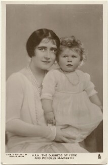 'H.R.H. The Duchess of York and Princess Elizabeth' (Queen Elizabeth, the Queen Mother; Queen Elizabeth II), by Marcus Adams, published by  Raphael Tuck & Sons - NPG x193266