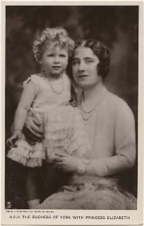 'H.R.H. The Duchess of York with Princess Elizabeth' (Queen Elizabeth II; Queen Elizabeth, the Queen Mother), by Marcus Adams, published by  Raphael Tuck & Sons - NPG x193268