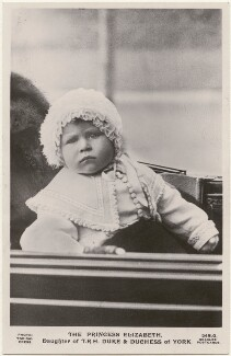 'The Princess Elizabeth, Daughter of T.R.H. Duke & Duchess of York' (Queen Elizabeth II), by Topical Press, published by  J. Beagles & Co - NPG x193276