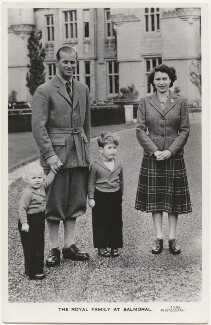 'The Royal Family at Balmoral' (Princess Anne; Prince Philip, Duke of Edinburgh; Prince Charles; Queen Elizabeth II), published by James Valentine & Sons Ltd - NPG x193028