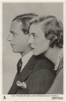 Prince George, Duke of Kent; Princess Marina, Duchess of Kent, by Dorothy Wilding, published by  Raphael Tuck & Sons - NPG x193286
