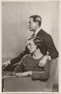 Princess Marina, Duchess of Kent; Prince George, Duke of Kent, by Dorothy Wilding, published by  Raphael Tuck & Sons - NPG x193287