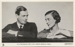 Prince George, Duke of Kent; Princess Marina, Duchess of Kent, by Dorothy Wilding, published by  Raphael Tuck & Sons - NPG x193288