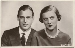 Prince George, Duke of Kent; Princess Marina, Duchess of Kent, by Dorothy Wilding, published by  Raphael Tuck & Sons - NPG x193289