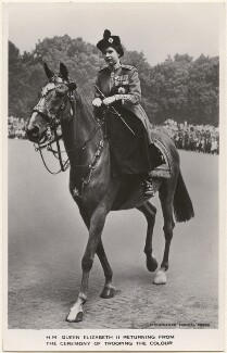 'H.M. Queen Elizabeth II returning from the ceremony of Trooping the Colour', by Topical Press, published by  James Valentine & Sons Ltd - NPG x193038