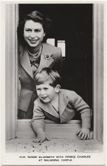 'H.M. Queen Elizabeth with Prince Charles at Balmoral Castle', by Studio Lisa (Lisa Sheridan), published by  James Valentine & Sons Ltd - NPG x193041