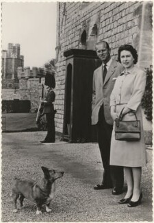 'H.M. The Queen with the Duke of Edinburgh at Windsor Castle', published by James Valentine & Sons Ltd - NPG x193044