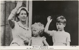 'The Royal Homecoming on the balcony at Buckingham Palace' (Queen Elizabeth II; Princess Anne; Prince Charles), published by Raphael Tuck & Sons - NPG x193054