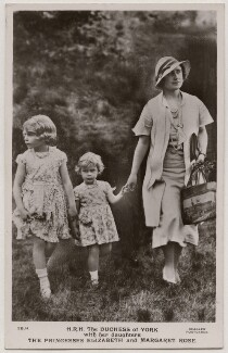'H.R.H. The Duchess of York with her daughters T.R.H. The Princesses Elizabeth and Margaret Rose', published by J. Beagles & Co - NPG x193133