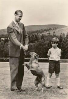 'H.R.H. The Duke of Edinburgh and Prince Charles at Balmoral', published by James Valentine & Sons Ltd - NPG x193058