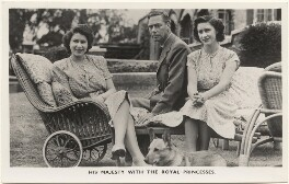 'His Majesty with the Royal Princesses' (Queen Elizabeth II; King George VI; Princess Margaret), published by The Photochrom Co Ltd - NPG x193082