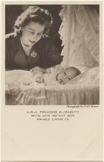 'H.R.H. Princess Elizabeth with her infant son Prince Charles' (Queen Elizabeth II; Prince Charles), by Cecil Beaton, published by  The Photochrom Co Ltd - NPG x193063