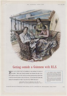 Getting outside a Guinness with R.L.S., published by Illustrated London News, after  Raymond Teague Cowern - NPG D45912