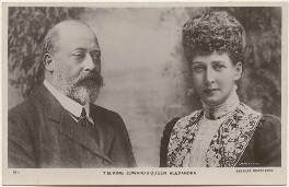 King Edward VII; Queen Alexandra, published by J. Beagles & Co, after  Unknown photographer, and  Lafayette - NPG x196930