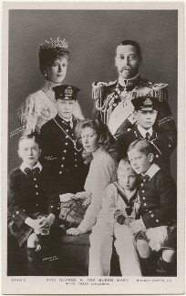 'King George V and Queen Mary with their children', published by Rotary Photographic Co Ltd, after  Langfier Ltd, and  James Charles Dinham, and  Lafayette, and  Unknown photographer - NPG x196932