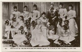 'Their Majesties The King and Queen with Bridesmaids on the Occasion of their Wedding, July 6th, 1893', after Lafayette - NPG x196933