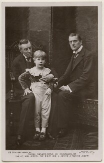 'Three Generations of Chamberlain' (Joe Chamberlain; Joseph Chamberlain; Sir (Joseph) Austen Chamberlain), by Speaight Ltd, published by  Rotary Photographic Co Ltd - NPG x196949