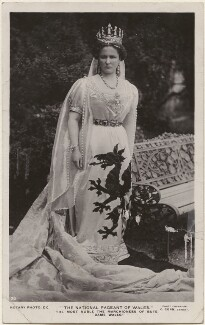 Augusta Mary Monica (née Bellingham), Marchioness of Bute as 'Dame Wales' at the National Pageant of Wales, by C. Corn, published by  Rotary Photographic Co Ltd - NPG x198199