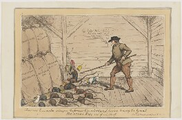 Farmer Encombe setting on the famous Cumberland terrier to drag the Great Hanover Rat out of mischief, possibly by John Phillips, published by  George Humphrey - NPG D46050