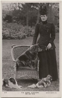 'H.M. Queen Alexandra and her pets' (Queen Alexandra), by Thomas Fall, published by  Rotary Photographic Co Ltd - NPG x196862