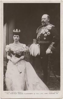 Queen Alexandra; King Edward VII, by Peter Cooke, for  Gunn & Stuart, published by  The Philco Publishing Co - NPG x196430