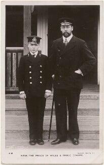 Prince Edward, Duke of Windsor (King Edward VIII); King George V, by Hughes & Mullins, published by  Rotary Photographic Co Ltd - NPG x196469