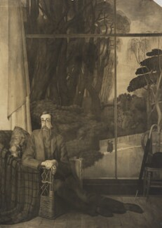 Lytton Strachey, by Unknown photographer, after  Henry Lamb - NPG Ax160932