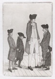 George Fairholme; John McGowan; Charles Byrne; Alexander Watson; Geordie Cranstoun, by John Kay - NPG D46115
