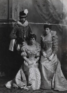 Haakon VII, King of Norway when Prince Charles of Denmark with Maud, Queen of Norway when Princess Charles of Denmark and Princess Victoria of Wales as Ladies of the Court of Marguerite de Valois, by Lafayette - NPG Ax36418