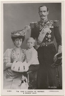 Maud, Queen of Norway; Olav V, King of Norway; Haakon VII, King of Norway, by James Russell & Sons, published by  J. Beagles & Co - NPG x196492