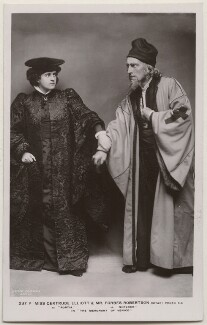 Gertrude Elliott as Portia and Sir Johnston Forbes-Robertson as Shylock in 'The Merchant of Venice', by Lizzie Caswall Smith, published by  Rotary Photographic Co Ltd, circa 1906 - NPG  - © reserved; collection National Portrait Gallery, London