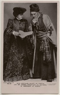 Gertrude Elliott as Portia and Sir Johnston Forbes-Robertson as Shylock in 'The Merchant of Venice', by Lizzie Caswall Smith, published by  Angus Thomas Ltd, circa 1906 - NPG  - © reserved; collection National Portrait Gallery, London