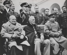 Winston Churchill, Franklin Roosevelt and Joseph Stalin at the Yalta Conference, by Richard L. Sarno, distributed by  United States Army Signal Corps - NPG x199337