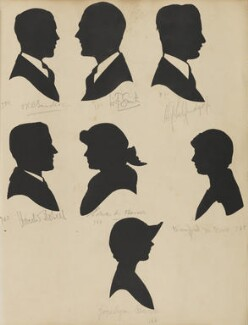 Harold Dobell; J.R.B. Sanders; W. F. Smith; Edna M. Harris; Jocelyn Barr; Gordon Selfridge; Winifred M. Barr, by Hubert Leslie - NPG D46416