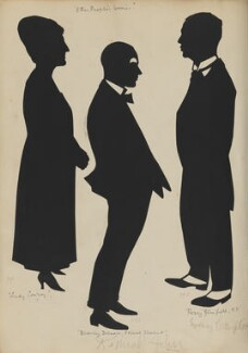 Actors in role for the play 'Other People's Worries', on the West Pier, Brighton (Sydney Compton as 'Percy Glanfield M.P.' and two unknown actors), by Hubert Leslie - NPG D46423