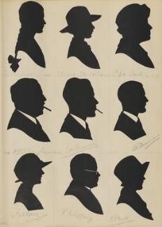 B. Hartrodt; Sylvia Da Costa; C. Da Costa; H.W.V. Bingham; D.A.F. Ainger?; H.R. Hannon?; R. Goldberg; P. Goldberg; E.G. Mould, by Hubert Leslie - NPG D46534