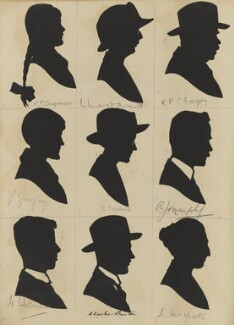 Visitors to St Luke's Church Bazaar, Eltham Park (G. Holmes; F. Gregory; V.P. Chapman; Charles Edward Augustine Burton; B. Newbould; ?; L. Heathcote; A.J. Murphy; Richard Robert Castell ('R. R. C.') Gregory), by Hubert Leslie - NPG D46610