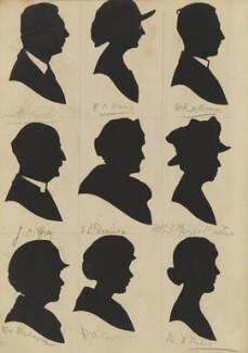 Visitors to St Luke's Church Bazaar, Eltham Park (Mrs Medault; K. C. Grey; ?; D.M. Clare; E.L. Denison; N.C. Brown; M.D. Milne; Mrs S. Biggs Porter; W.R.A. Brown), by Hubert Leslie - NPG D46614