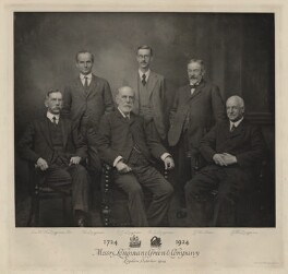 Sir Hubert Harry Longman, 1st Bt; William Longman; Charles James Longman; Robert Guy Longman; John William Allen; George Henry Longman, by Emery Walker Ltd - NPG x29998