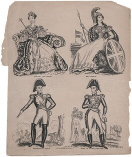 Queen Victoria; Britannia; Nicolas Jean-de-Dieu Soult; Arthur Wellesley, 1st Duke of Wellington, published by Archibald Alexander Park - NPG D47434