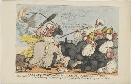Joanna Southcott the Prophetess Excommunicating the Bishops (Joanna Southcott; William Tozer), by Thomas Rowlandson, published by  Thomas Tegg - NPG D47440