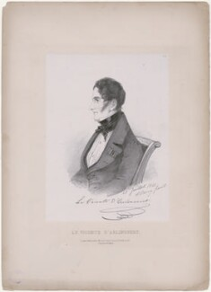 Charles Victor Prévot, Vicomte d'Arlincourt, by Richard James Lane, printed by  C. Graf, published by  John Mitchell, after  Alfred, Count D'Orsay - NPG D46277