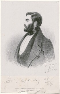 Eugène Sue, by Richard James Lane, printed by  C. Graf, published by  Goupil & Vibert, after  Alfred, Count D'Orsay - NPG D46282